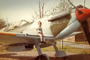 Aeroplanes have always held a passionate interest in our family. Here I am sitting on the wing of the immortal Spitfire. This was the Gate Guardian at RAF Church Fenton - a famous World War II airfield that closed down in 2013.