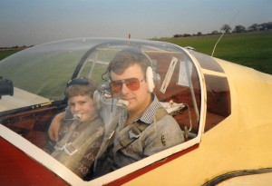 Me and Dad in a motor-glider – he sometimes let me take the controls which I thought was very brave of him.
